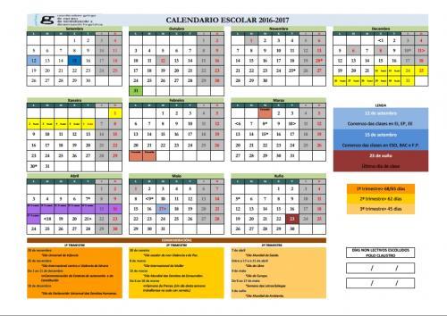 Calendario Escolar Xunta.Calendario Escolar 2016 2017 Anpa Do Ceip Perez Viondi Da Estrada